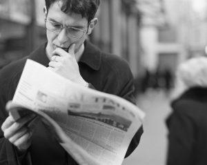 black and white newspaper
